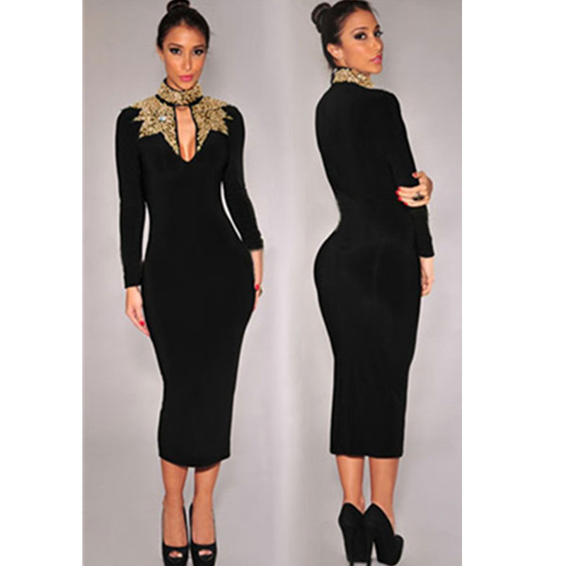 2016 Women Fashion Style Black Gold Sequins Mock Neck Classic Long Sleeve Formal Office Party