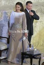Silver Beaded Sash Muslim Long Evening Dresses Full Sleeve Arabic Clothing Islamic Abaya Dubai Kaftan Celebrity Dresses