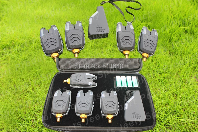 Free Shipping JY-57 Fishing bite alarm wireless fishing bite alarm set 8 LED for carp fishing bite alarm set (4alarm+1receiver)