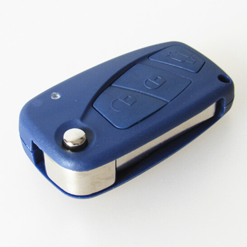 Car key shell replacement key cover fiat 3 button flip folding remote key blank case blue color 10pcs/lot free shipping(China (Mainland))