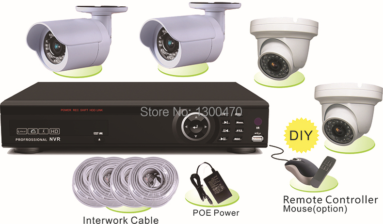 2014 Limited Real Dvr Stand Alone 4 Channel H.26 Hd Poe Nvr Kit with Bullet And Dome Ip Camera Home Sucurity Surveillance System(China (Mainland))