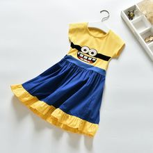 new baby girl clothes minions dress yellow cotton embroidered girls dress children clothing Party minion dress princess dress