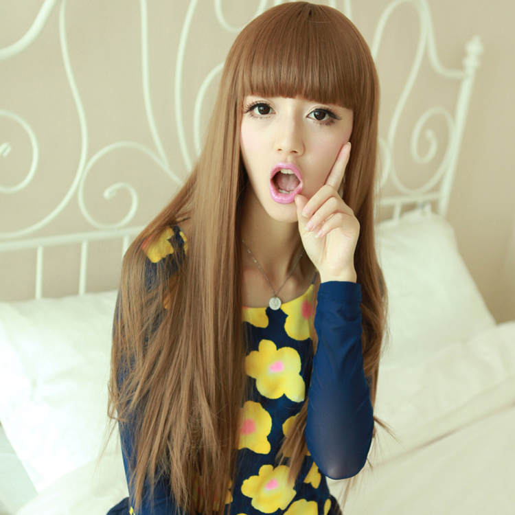Brown Straight Neat Bangs Lolita Perruque Peruca Synthetic Hair Wigs Cheap Natual Realistic Wigs Brief Cute Style Cosplay Wigs(China (Mainland))