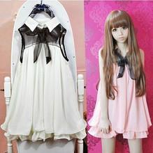 Buy Women summer sweet dress doll ruffles chiffon sleeveless solid dress Japanese cute lolita white,pink one piece dress Kawaii OP for $14.18 in AliExpress store