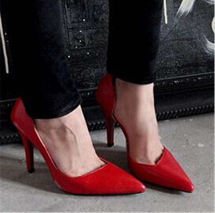 ENMAYER shoes woman pumps new hot fashion women real PU leather shoes pumps high heels black wedding shoes pumps for women<br><br>Aliexpress