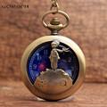 Vintage Howllow Le Petit Prince Designers Pocket Watch FOB Chain Blue Starry Sky Dial Quartz Pocket