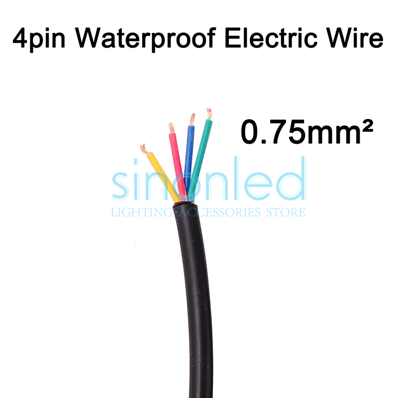 Wholesale 50m 4pin waterproof electrical wire, 18AWG PVC insulated extend Black Cable, 0.75 sq mm, waterproof connector(China (Mainland))