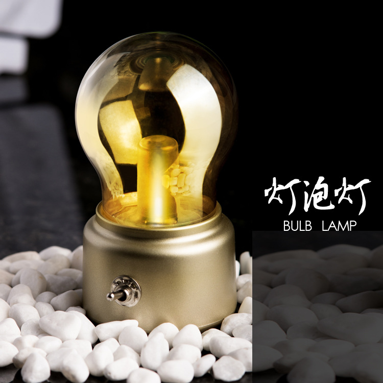 Retro USB bulb lamp bulb rechargeable battery charging Night light LED energy-saving light source bed decoration lamp(China (Mainland))