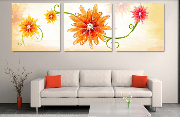 Framed High-quality Modern Printed On Canvas 3 piece yellow flowers oil painting wall hanging wall art orange wall painting(China (Mainland))