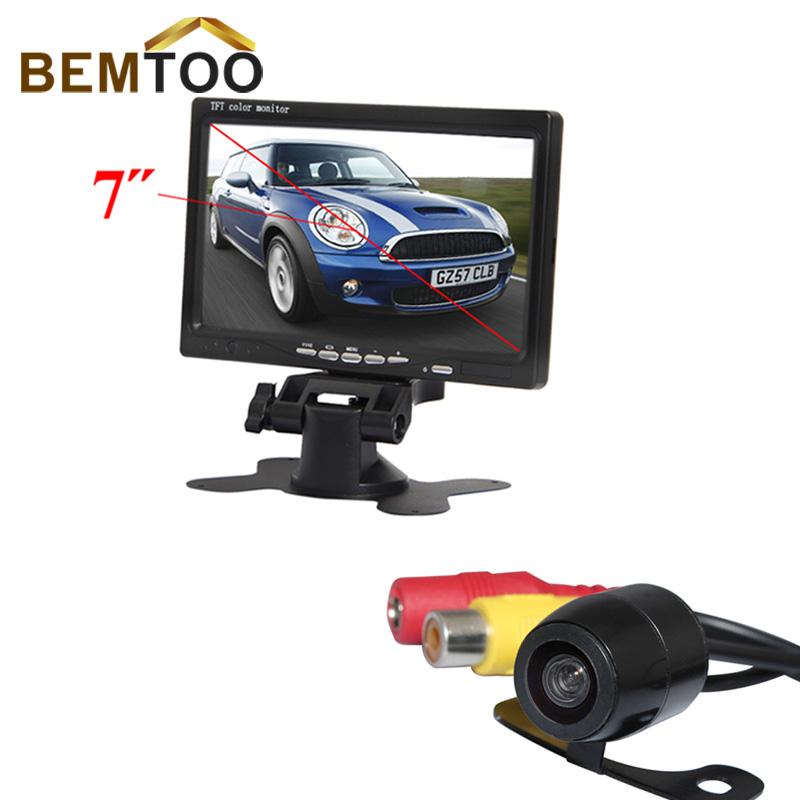 """BEMTOO Car Rear View Camera Night Vision Ca Reverse Camera With 7""""Inch Car Monitor Rear View Mirror LCD Color Display Car Camera(China (Mainland))"""