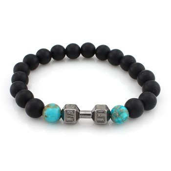 New Arrival Metal Barbell Jewelry for men 8mm Black Matte Agate Stone Beads yoga Fitness Fashion Fit Life Dumbbell Bracelets
