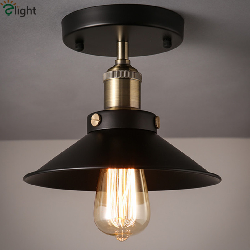 American Vintage Iron Loft Edison Ceiling Lamp Pastoral E27 Foyer Led Ceiling Light Simple Corridor Led Ceiling Lighting Fixture(China (Mainland))