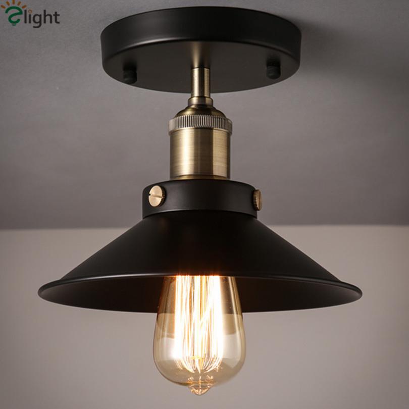 American Vintage Iron Loft Edison Ceiling Lamp Pastoral E27 Foyer Led Ceiling Light Simple Corridor Led Ceiling Lighting(China (Mainland))