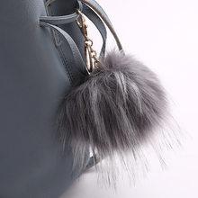 Nova moda Imitação De peles mulheres chaveiro bola de pêlo Pompom Lindo pingente Charme Saco Chave Do Carro anel Melhor Presente jóias K1635(China)