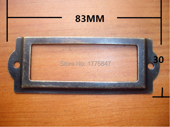 Antique Iron Label Frame Card Holder large 83*30mm Name sign shelf display filing sorting Library classification wood working(China (Mainland))