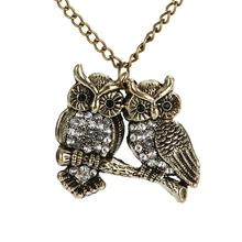 New Women Charm Animal Chic Ladies Gold Plated Strung Chain Double Owl Vintage Retro Pendant Lovely Necklace(China (Mainland))
