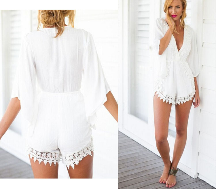 Images of All White Short Romper - Reikian
