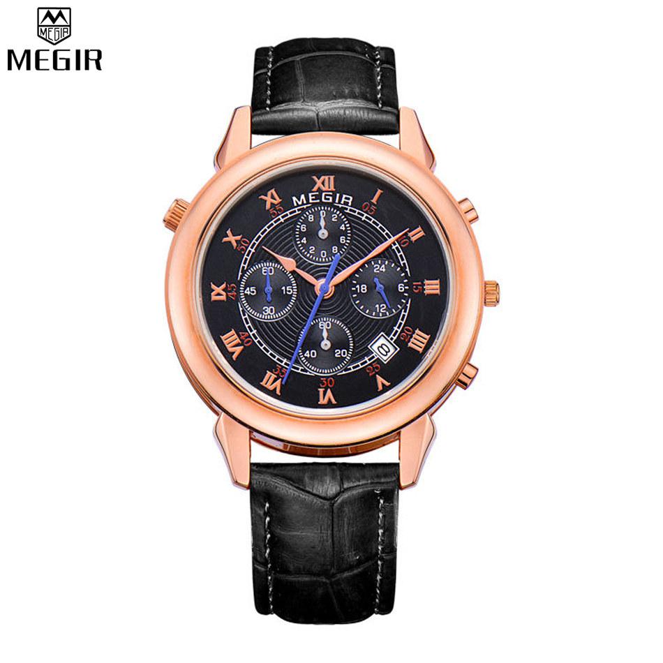 MEGIR Chronograph Mens Quartz Watch Hour Date Clock Fashion Casual Sports Watches Men Wrist Watch Two Time Zone Watch /ML2013-2<br><br>Aliexpress