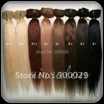 """20"""" - 26""""  Full Head thickest 160g Remy Clip in Human hair extension Black, Brown, Blonde Optional 10 Colors available"""