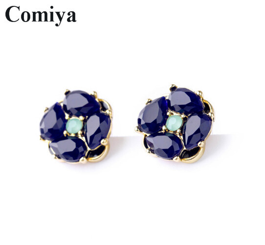 Statement charming blue Sapphire stud earrings for women brincos grandes mosaic summer jewelry ohrringe fashion accessories<br><br>Aliexpress