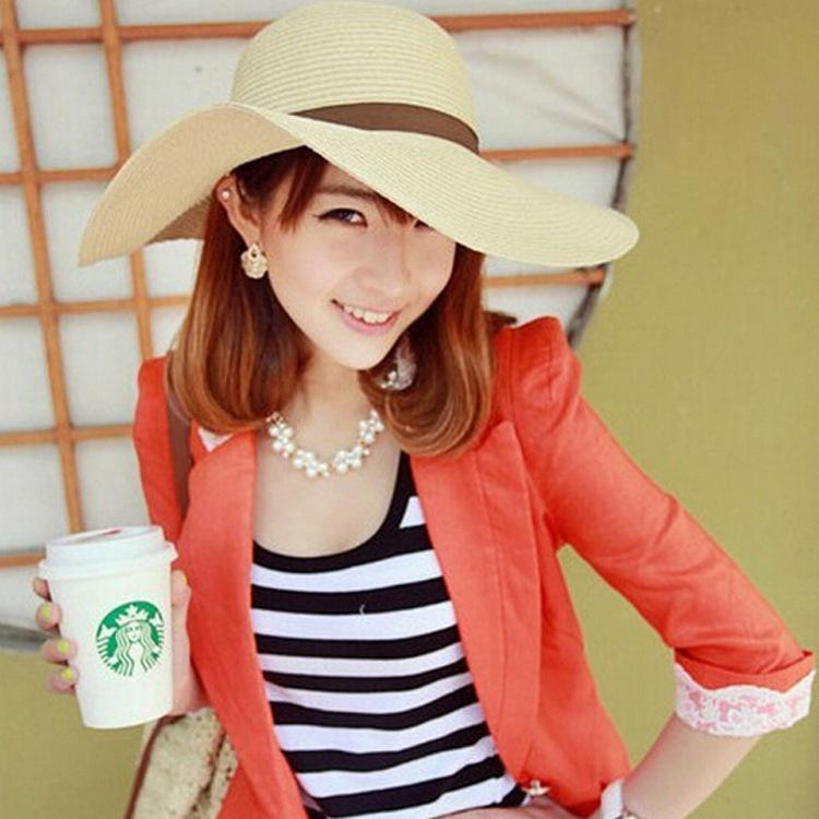 2015 new large brimmed sun flowers flange beach hat large brimmed straw hat wholesale wholesale(China (Mainland))
