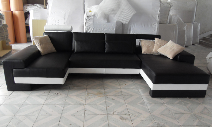 Sofa Free Shipping 2015 New Modern Design Large Size Sofa U Shaped Couches Real Leather Corner Sofa Home Furniture LC9102(China (Mainland))