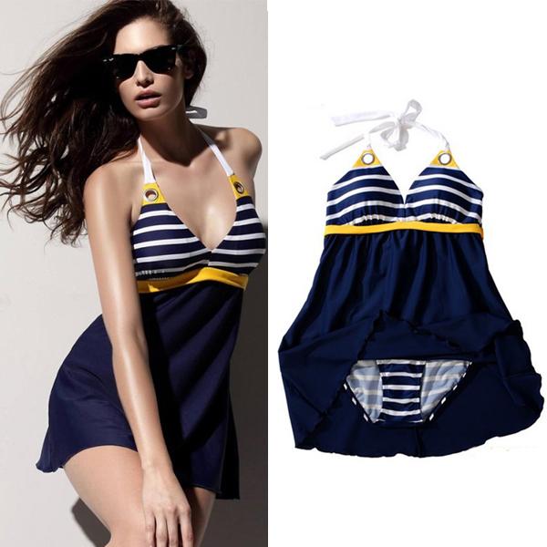 New Sexy Stripe Plus Size Padded Navy Blue Halter Skirt Swimwear Women One Piece Swimsuit Beachwear Bathing Suit Free Shipping(China (Mainland))