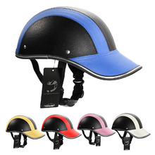 Motorcycle Half Face Helmet Protective Helmets Pith Helmet ABS Leather Baseball Cap 5 Colors(China (Mainland))
