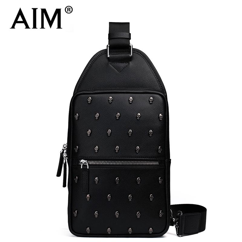 AIM New Vintage Genuine Leather Men Chest Bags Pack Travel Zipper Handbags Crossbody Shoulder Messenger Skulls Bag Rock Style(China (Mainland))