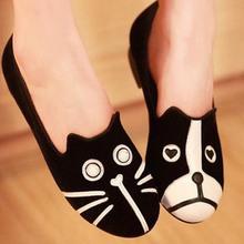 Women Canvas Shoes Dog And Cat Design Ladies Flats Loafers Home Shoes Fashion Casual Alpargatas Sapatos Femininos Zapatos Mujer(China (Mainland))