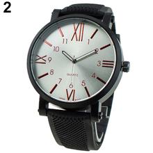 Súper ventas hombres de lujo de oro rojo negro blanco de moda V6 grande marque los números romanos del cuarzo reloj de acero para el año nuevo regalo 14KJ