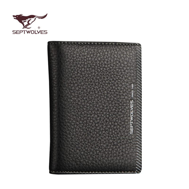 Hot sale man leather wallet Septwolves male card holder cowhide card black brief case carteira Devise Men's Wallet(China (Mainland))