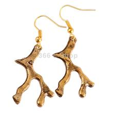 Fashion Europe Elegant Coral Roots Dangle Drop Earring Ear Antique Gold(China (Mainland))