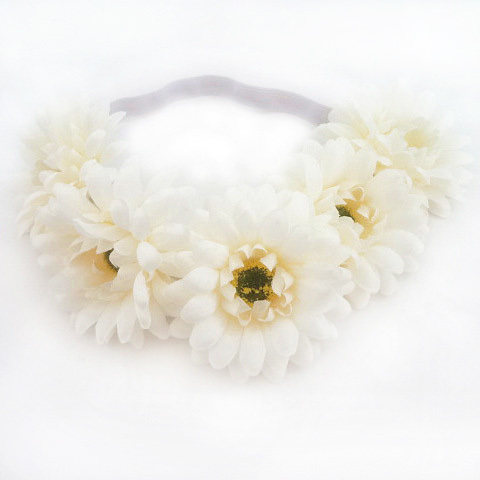 Handmade Woman Girls Daisy Flower Headband Party Wedding Fabric Flower Wreath Fashion Elastic Hair Flower Crown
