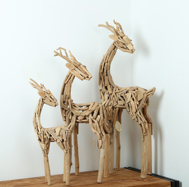 Home Decor Modern Style Wood Artworks tube Unique Gift Ideas 100% Handmade 3 pieces Deers in different sizes Wood Craft(China (Mainland))
