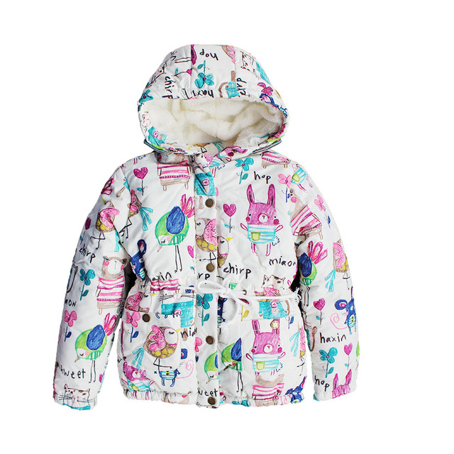 Зимние куртки и пальто для девочек граффити ветровки с капюшоном, мультяшный принт, детская Верхняя одежда, детская одежда, куртки