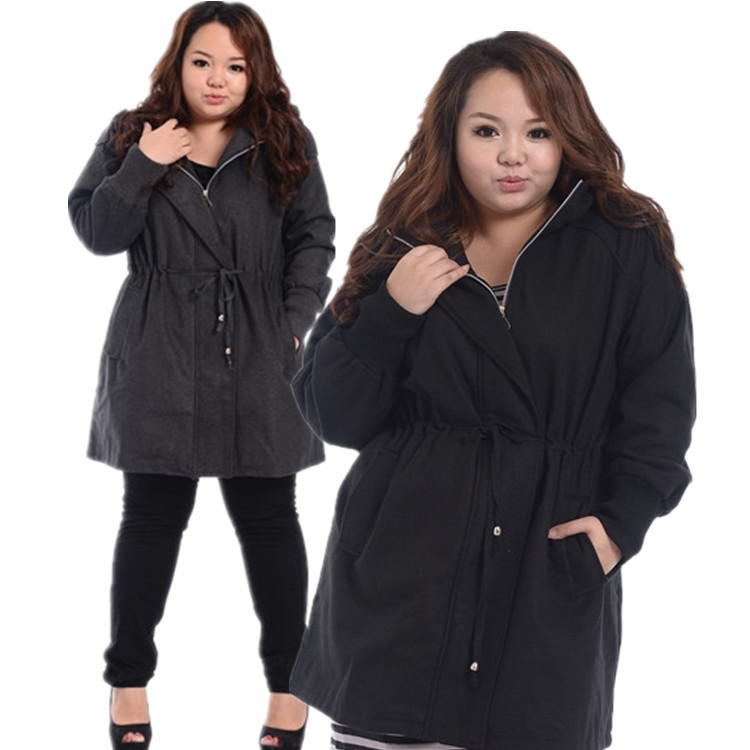 2015 Winter Womens Woolen coat Fit Plus bigger size ladies Women's hooded zipper jackets Black 3XL 2XL XL High quality