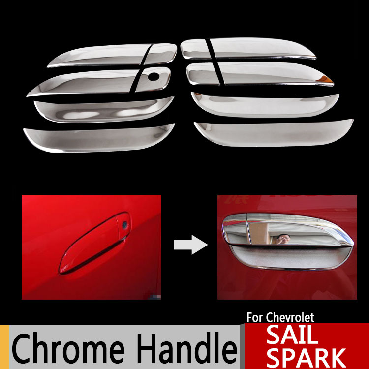 Chrome Door Handles Covers for Chevrolet Chevy Sail 2010-2013 Spark Chromium Styling Car Accessories Stickers Car Styling(China (Mainland))