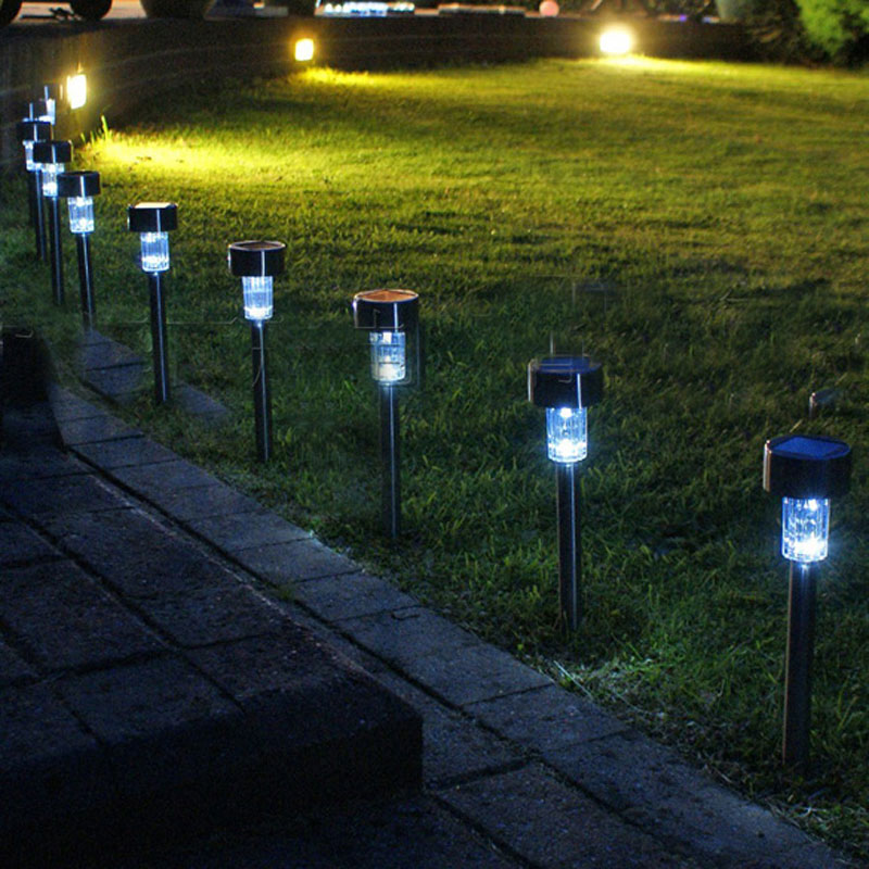 led solar white light garden path outdoor garden landscape stake solar