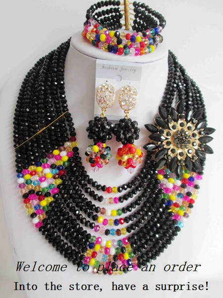 2015 Fashion african crystal beads necklace set nigerian wedding african beads jewelry set Free shipping P-3829<br><br>Aliexpress