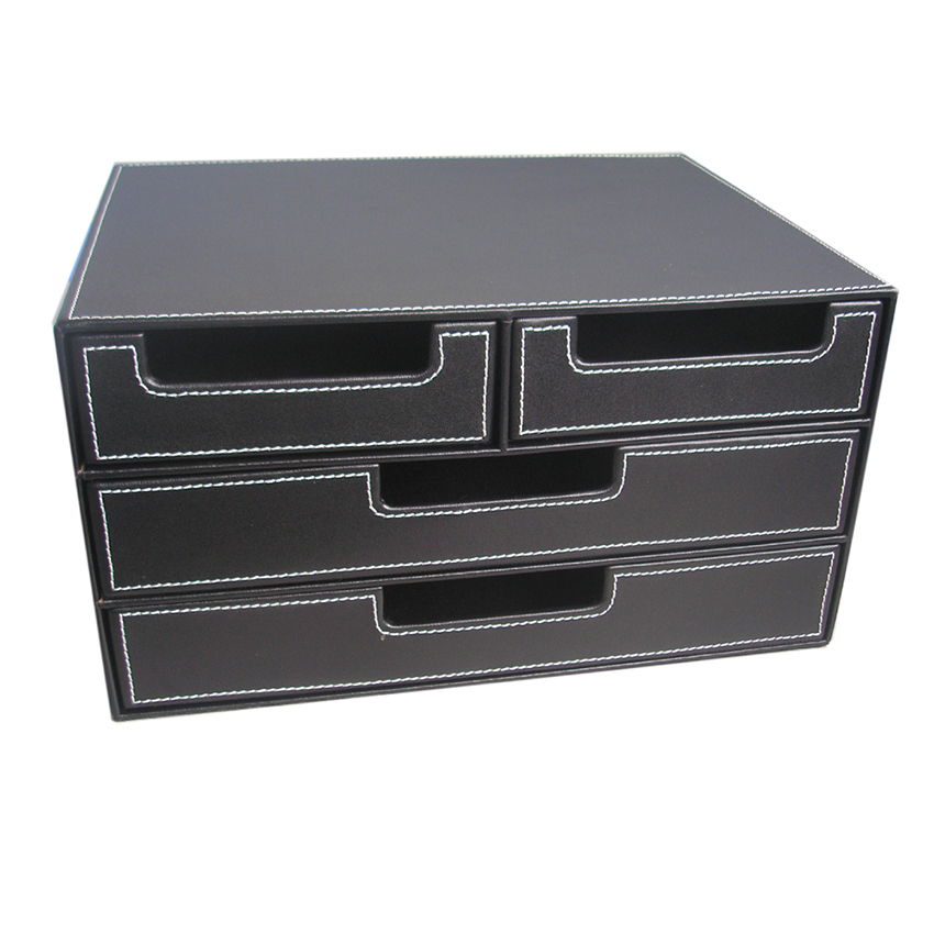 Aliexpress.com : Buy 4 Drawer Black Leather Office Filing Cabinet Desk .