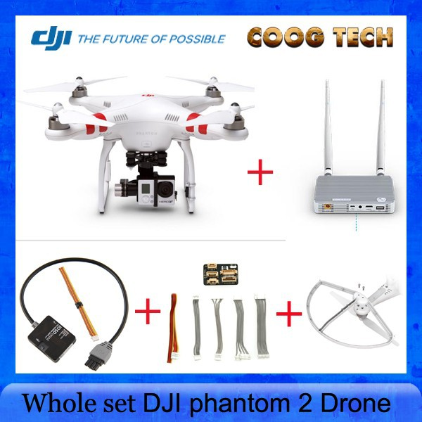 FPV Drone DJI phantom 2 with H3 3D Gimbal Quadcopter + DJI Lightbridge 2.4GHZ Transmitter Receiver +IOSD Mini+DJI Prop Protector