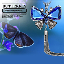 New Arrival Butterfly Necklace Trendy Zinc Alloy Rhinestone Crystal Necklace Long Chain Pendant Necklaces For Women