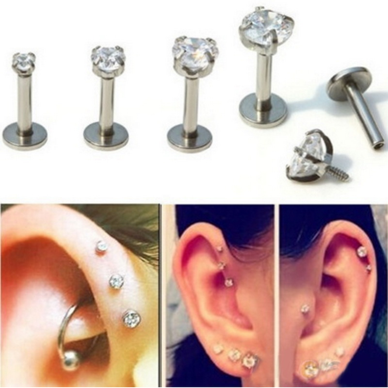 Tragus Earring Stainless Steel Internally Thread Crystal Stone Labret Lip Piercing Stud Ring Body Jewelry Retainers(China (Mainland))