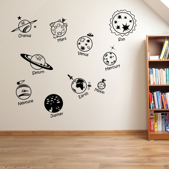 Wall Stickers Home decor DIY poster Decal Nursery mural Vinyl Personized Solar System Spaceship in universe Childrens(China (Mainland))