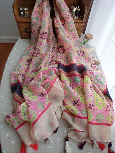 Новое поступление женщин шарф специальный национальный стильный обертывания с кистями Foral солнцезащитный крем пашмины HOT 180 * 110 см