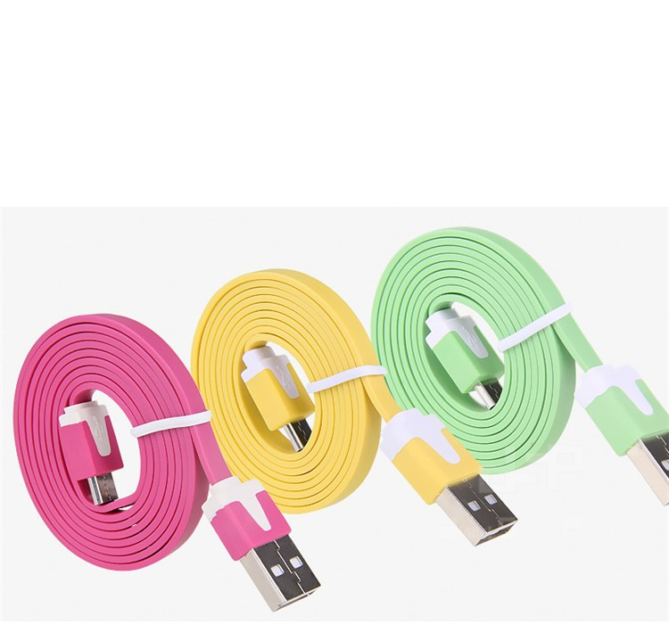 1M 2M 3M Noodle Flat wire Data Charger V8 Micro USB charging Cable For Samsung S6 s5 S4 S3 HTC Xiaomi Huawei phone accessories