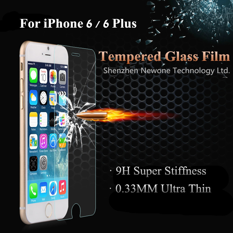Top Quality Ultra Thin LCD Clear Tempered Glass Screen Protector Mobile Cell Phone Protective Film For iPhone 6 Plus 5.5 inch(China (Mainland))
