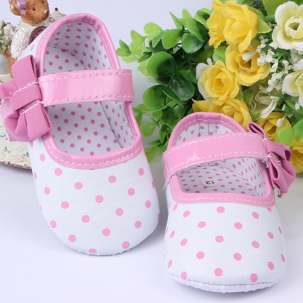 Cute Infant Baby Girl Toddler Shoes Dots Bow Soft Sole Velcro Soft Sole Anti-slip Toddler Shoes