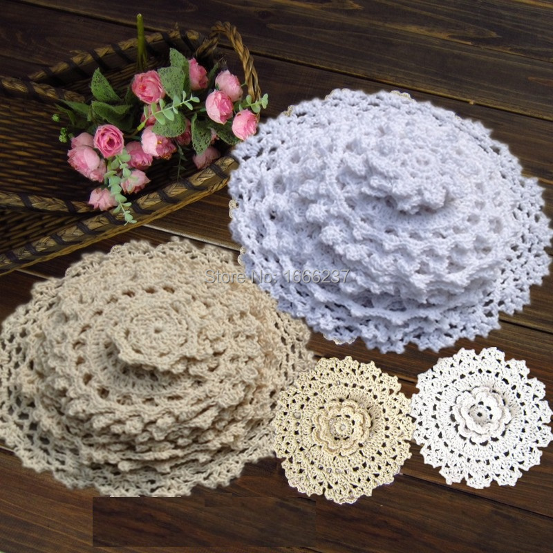 24Pcs 100% Cotton Hand Made Crochet Doilies Cup Mat Pad Coaster 12 Vintage Crochet Motifs 5-18cm White Beige HD044(China (Mainland))